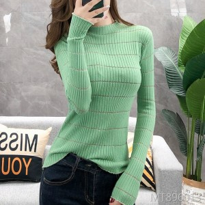 Autumn new set of half-high collar silver line bottoming sweater