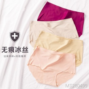 Rolled mid-rise sexy ladies briefs large size underwear
