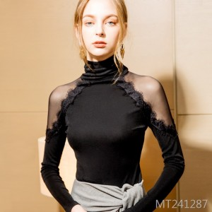 Lace-in-the-shoulder top sexy sexy off-the-shoulder T-shirt