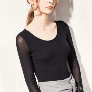 New long-sleeved t-shirt female large size multi-color solid color mesh bottoming shirt