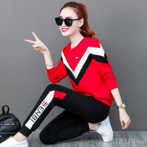 Loose long-sleeved sweater casual wear fashion hit color two-piece tide