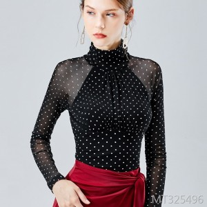 Long-sleeved t-shirt pleated sexy high-neck stretch tights
