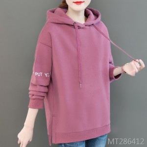 Plus velvet long hooded spring and autumn ins thick coat tide