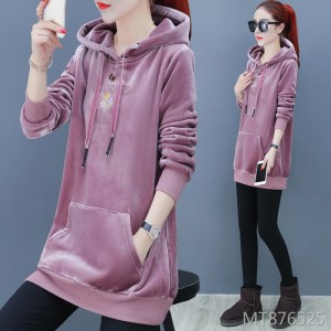 New tide long sleeve Korean version of the thick long hooded jacket