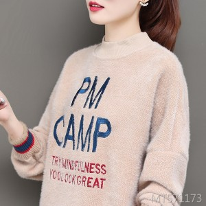 Long-sleeved early autumn ins top water-like velvet half-neck sweater