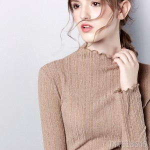 New knit large size top female wood ear half-high collar bottoming shirt