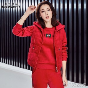 Gold silk double-faced velvet casual sports suit three-piece