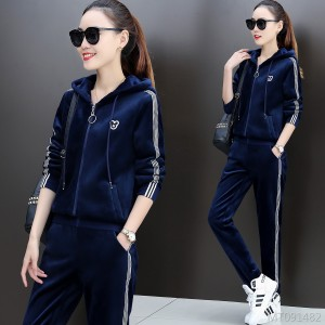 Winter leisure thickening sportswear double-faced sweater two-piece