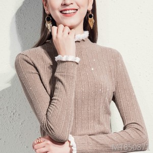 Half-high collar bottoming shirt female long-sleeved foreign-style large size inside tops