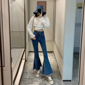 2019 autumn new retro high waist big flare jeans
