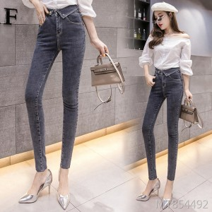 2019 autumn new personality cuffed super high waist jeans