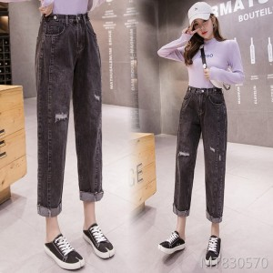 2019 autumn new style wind hole patch cloth old pants