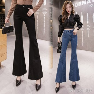 2019 autumn new fishtail big flare jeans