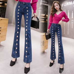 2019 autumn new custom metal buckled denim nine points micro trousers