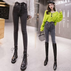 2019 autumn and winter new net red super high waist nine points pants
