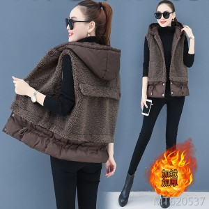 Korean version of loose fur one cotton vest wearing a fashion coat tide