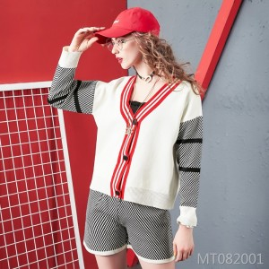 Knit Cardigan Sweater Jacket Plaid Shorts Two-Piece Set