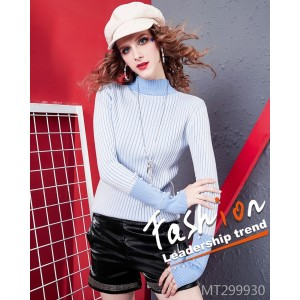 New fashion slim slim sweater Striped beaded temperament sweater