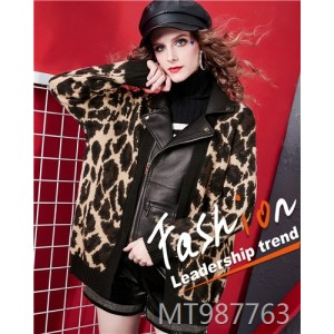 Lapel leopard knit stitching leather jacket wild personality shirt female temperament