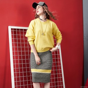 Autumn fashion two-piece women's sweater + contrast color skirt