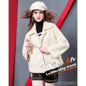 Small fragrance lamb lamb short coat fashion doll collar single breasted three-color jacket