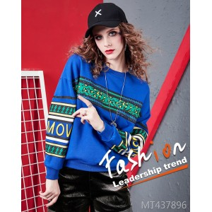 Fashion leopard stitching letter print wild round neck sweater