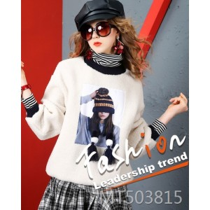 Lamb hair nail bead sweater European station loose thin thick sweater