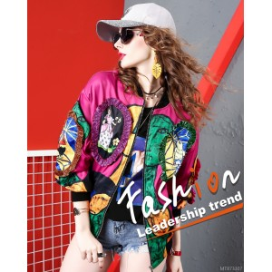Printed long sleeved jacket with loose versatile baseball uniform