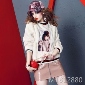 High imitation rabbit fur beaded sweater tide brand loose thin thick sweater