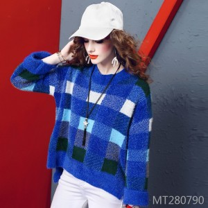 Pullover fashion plaid loose slimming cashmere sweater