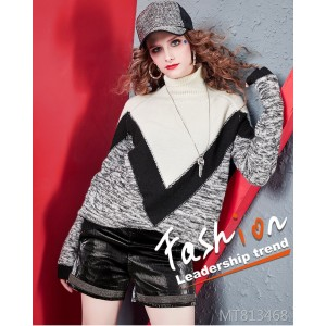 V-shaped contrast loose wool sweater street wind sweater