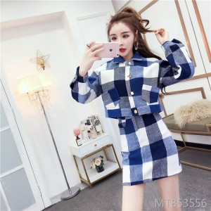 Short woolen coat plus skirt two-piece set 3126