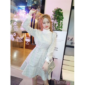 Ruffled dress temperament long sleeve high waist slimming fishtail