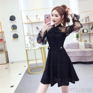 Long-sleeved mesh lace dress children's autumn and winter skirt