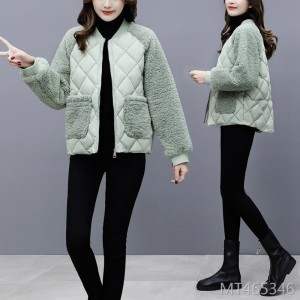 Loose lamb hair stitching cotton coat plaid small cotton jacket coat winter