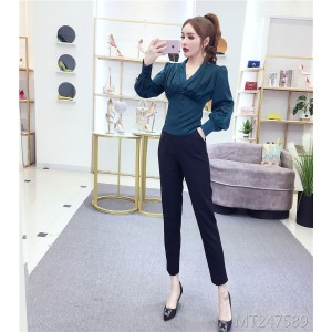 Fashion retro shirt + high waist slim feet pants
