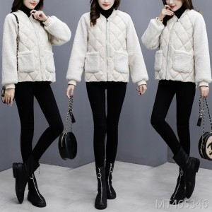 Loose imitation lambskin stitching cotton coat jacket