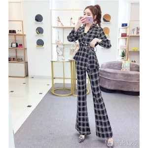 Suit collar plaid jacket trousers suit