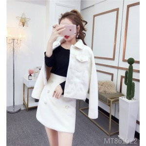 Gold Mane Lapel Pearl Single-Breasted Jacket Slim Fit Skirt Two-Piece Set