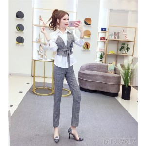 Fake two-piece shirt high waist plaid straight pants suit