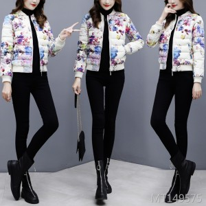 Korean version of the slim printed cotton jacket baseball thickened down cotton suit