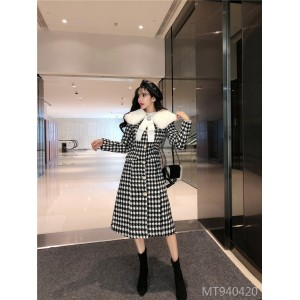 Fur collar slim long houndstooth wool coat