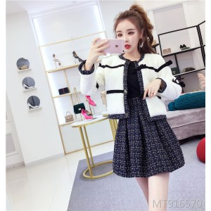 Pleated Skirt Jacket Two-Piece Set