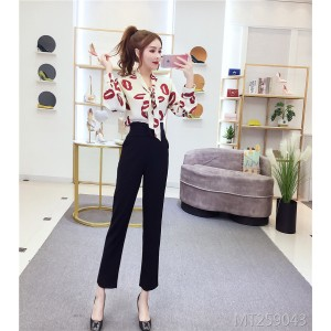 Bow red lips print long sleeve + harem pants slim slimming carrot pants