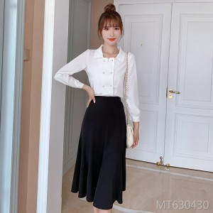 New retro shirt + skirt temperament waist slim dress female