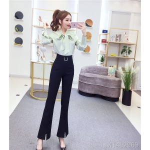 Split flared pants suit female casual trousers + shirt two-piece set 3305