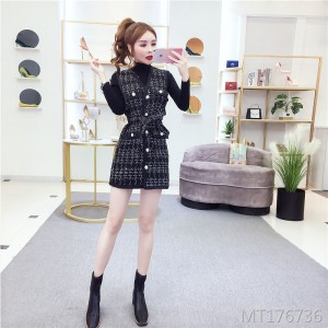 Small fragrance vest waist knit dress set