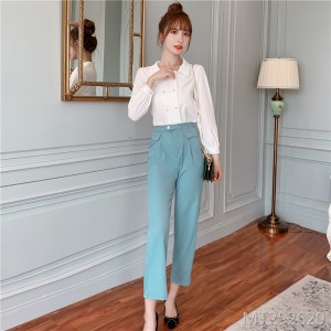 Temperament thin wide leg pants + top two sets of foreign style fashion