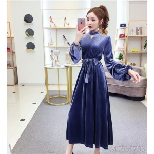 Slim stand collar long-sleeved tie with long A-line skirt