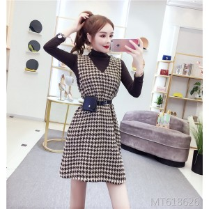 Houndstooth vest dress + high collar jacket temperament suit